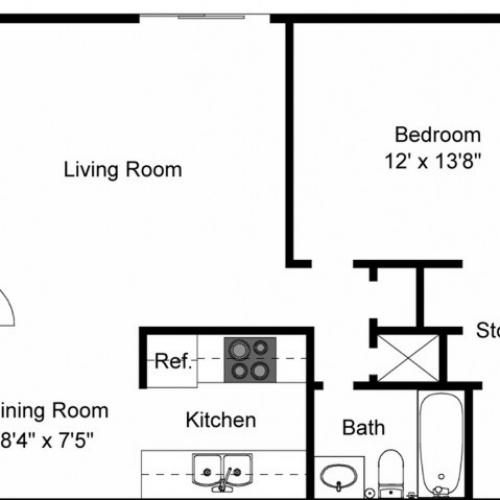 1X1C Renovated Floorplan: 1 Bedroom, 1 Bathroom - 750 sqft