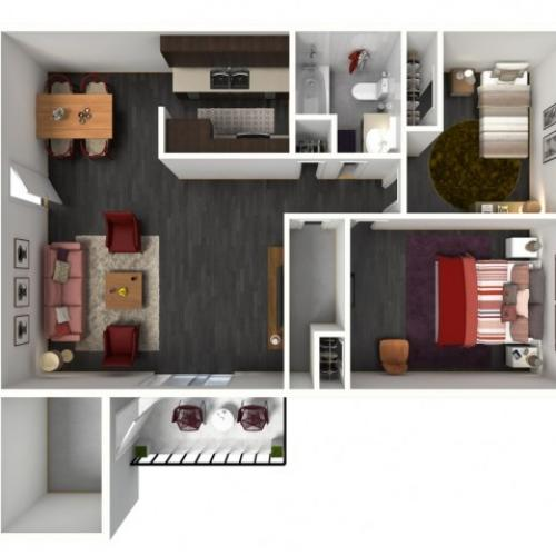2X1B Floorplan: 2 Bedroom, 1 Bathroom - 1002 sqft