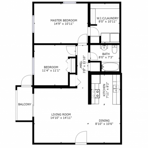 B1 Renovated Floorplan: 2 Bedroom, 1 Bathroom - 912 sqft