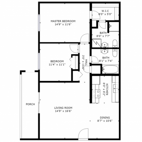 B2 Renovated Floorplan: 2 Bedroom, 2 Bathroom - 960 sqft