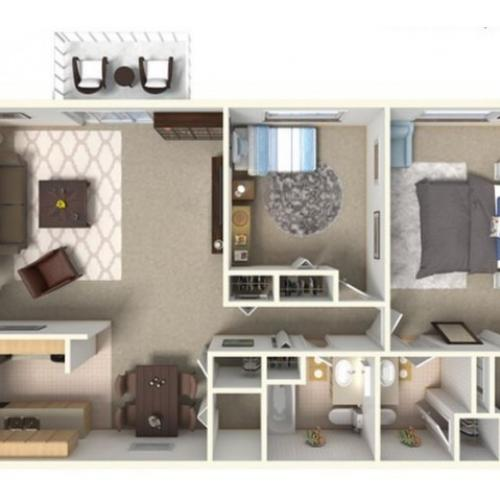 B2 Renovated: 2 Bedroom, 2 Bathroom; 1050sqft