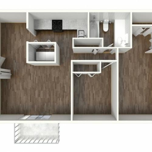 B1 Modern Renovation Floorplan: 2 Bedroom, 1 Bathroom, 888sqft