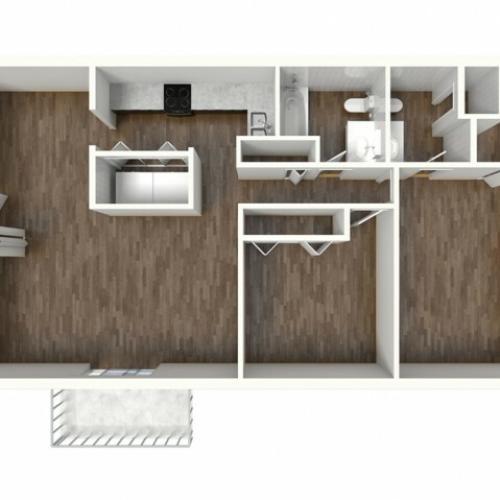 B2 Modern Renovation Floorplan: 2 Bedroom, 2 Bathroom, 1000sqft