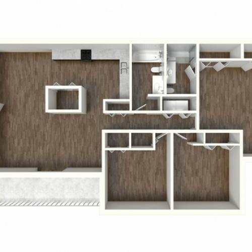 C1 Modern Renovation Floorplan: 3 Bedroom, 2 Bathroom, 1330sqft