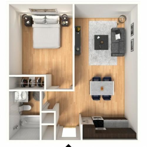 1x1A Floorplan: 1 Bedroom, 1 Bathroom; 488sqft