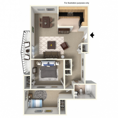 2 Bedroom, 1 Bathroom wBalcony