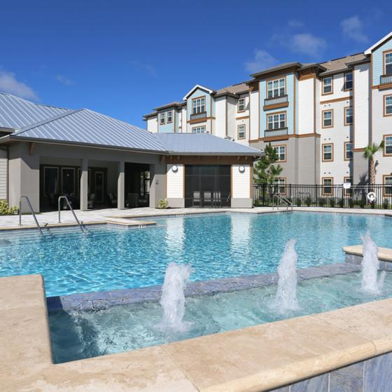 Marden Ridge Apartments, exterior, sparkling blue pool, clubhouse, apartment exterior