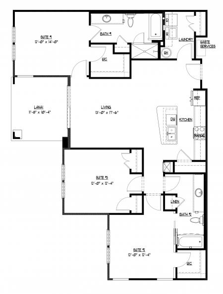 3 bedroom, 2 bathroom at Champions Vue