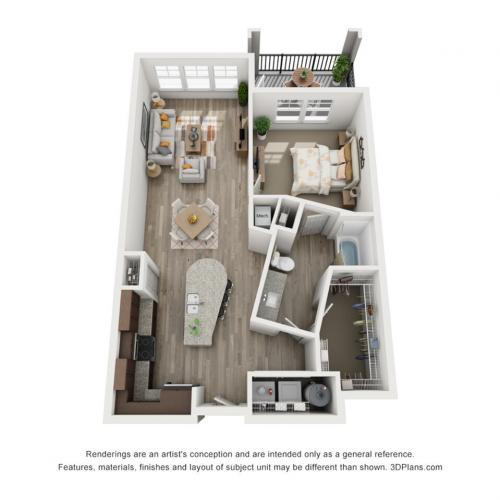 A2 - 1 bedroom, 1 bathroom apartment at Champions Vue Apartments