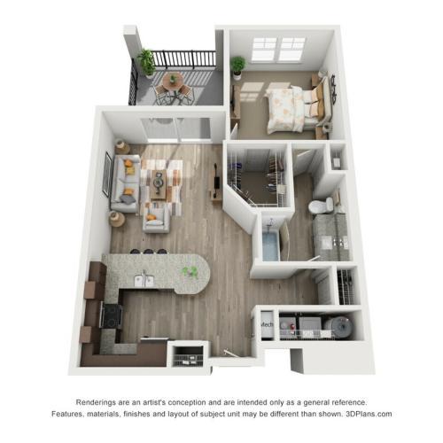 A4 - 1 bedroom, 1 bathroom apartment at Champions Vue Apartments