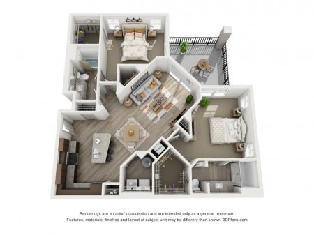 B3 - 2 bedroom, 2 bathroom at Champions Vue