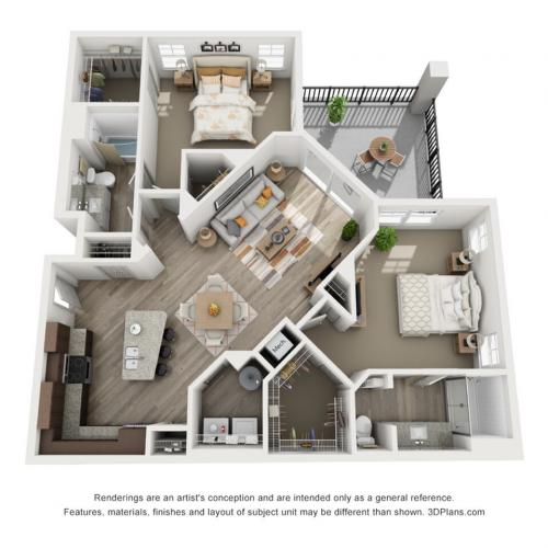 B3 - 2 bedroom, 2 bathroom at Champions Vue