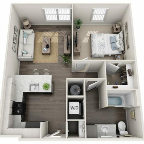 1 Bedroom Floor Plan | Apartments In Sanford Fl | Lofts at Eden