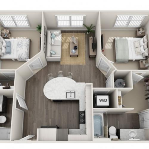 2 Bedroom Floor Plan | Apartments Sanford Fl | Lofts at Eden