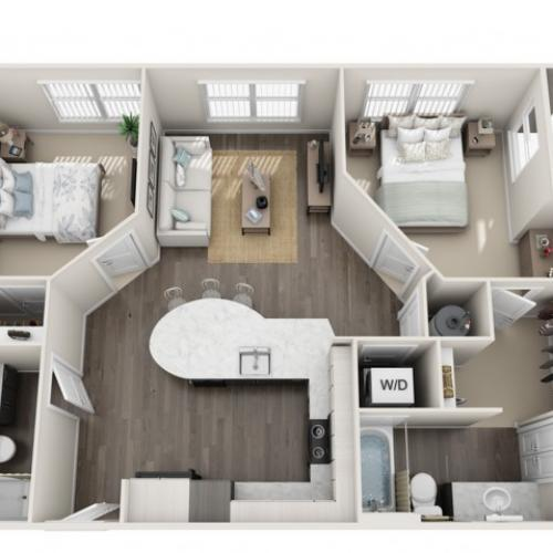 2 Bdrm Floor Plan | Apartment For Rent Sanford Fl | Lofts at Eden
