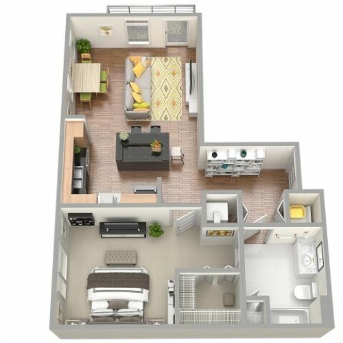 3D Floor Plan 1 | Clearwater Apartments | The Nolen