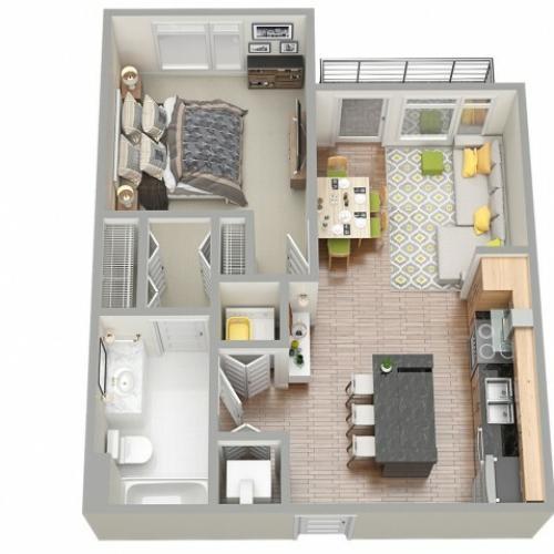 3D Floor Plan 3 | Apartments In Clearwater | The Nolen