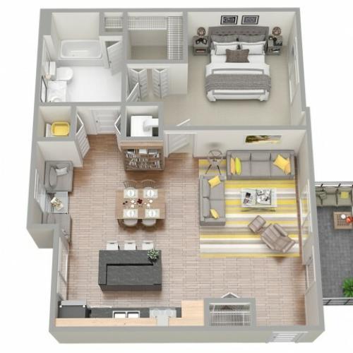 3D Floor Plan 5 | Luxury Apartments In Clearwater Fl | The Nolen