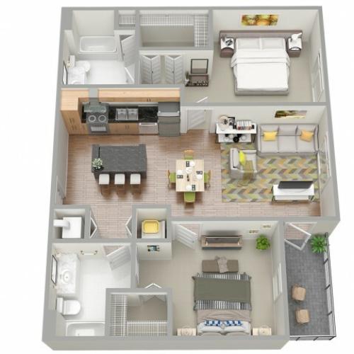 3D Floor Plan 6 | Clearwater Apartments | The Nolen
