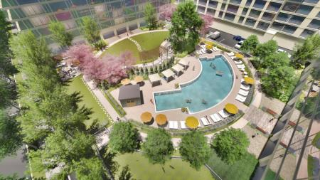 Outdoor Arc-Shaped Pool and Resort-Style Courtyard | The View at Waterfront