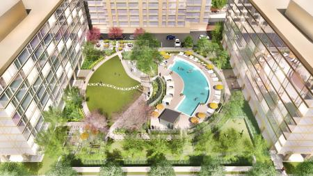 Newly Renovated Pool and Courtyard Aerial View | The View at Waterfront