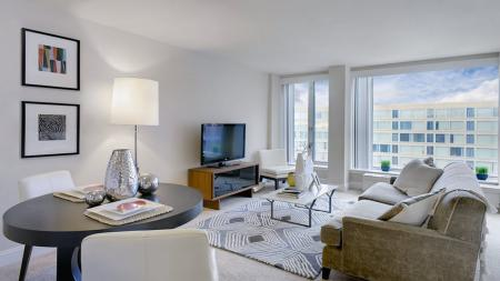 Living Room in One-Bedroom Apartment | The View at Waterfront
