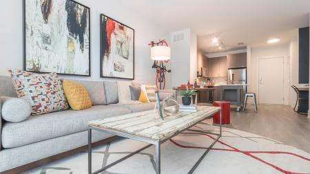 Open Living Area in One-Bedroom Apartment | Modera Midtown