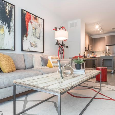 Open Living Area in One-Bedroom Apartment | Modera Midtown