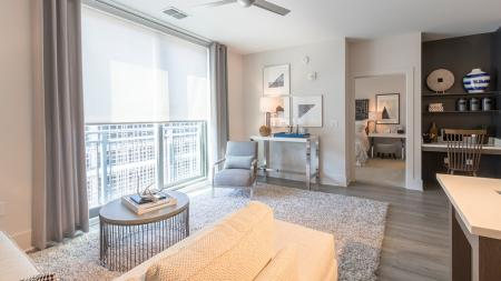 Oversized Window and Built-In Work Space in Open Living Area | Modera Midtown