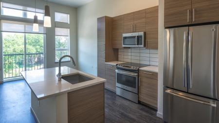 Kitchen With Pendant Lighting, Double-Door Refrigerator and Gooseneck Faucet   Modera Observatory Park