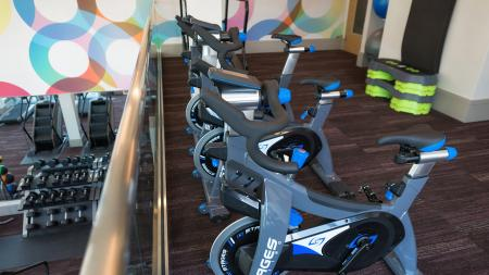 Spin Bikes on the Second Floor Overlooking the Fitness Studio   Modera Observatory Park