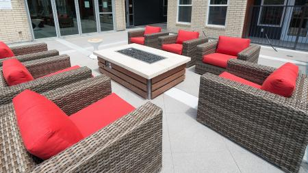Cozy Outdoor Fire Table and Lounge Area   Modera Observatory Park