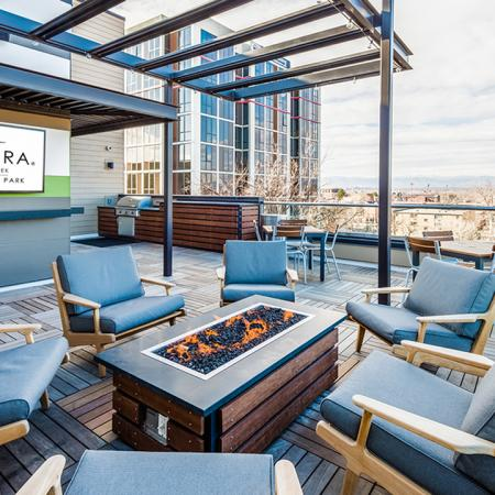 Social Lounges with Views and Fire Table | Modera Observatory Park | Denver, CO