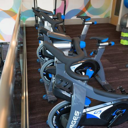 Spin Bikes on the Second Floor Overlooking the Fitness Studio | Modera Observatory Park