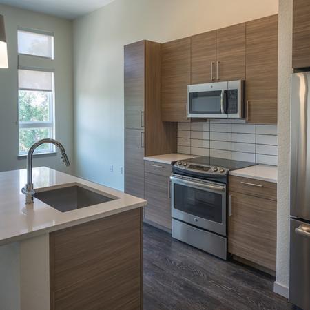 Kitchen With Pendant Lighting, Double-Door Refrigerator and Gooseneck Faucet | Modera Observatory Park
