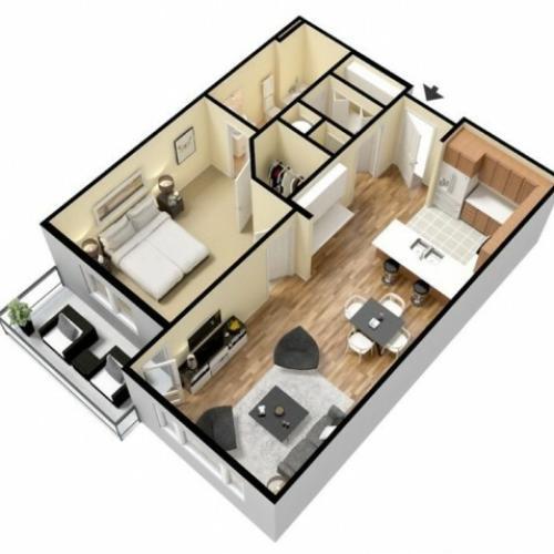 Floor Plan 1 | Luxury Apartments Kansas City KS | Prairie View at Village West