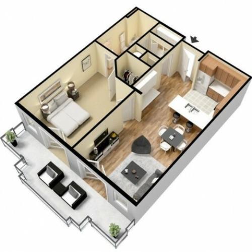 Floor Plan 4 | Apartments Kansas City | Prairie View at Village West