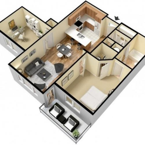 Floor Plan 6 | Luxury Apartments Kansas City KS | Prairie View at Village West