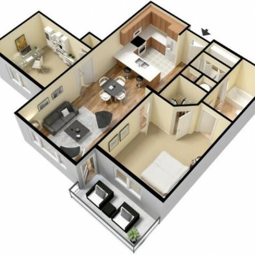 Floor Plan 6 | Luxury Apartments Kansas City KS | Prairie View at Village West