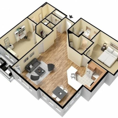 Floor Plan 15 | Kansas City Apartments | Prairie View at Village West