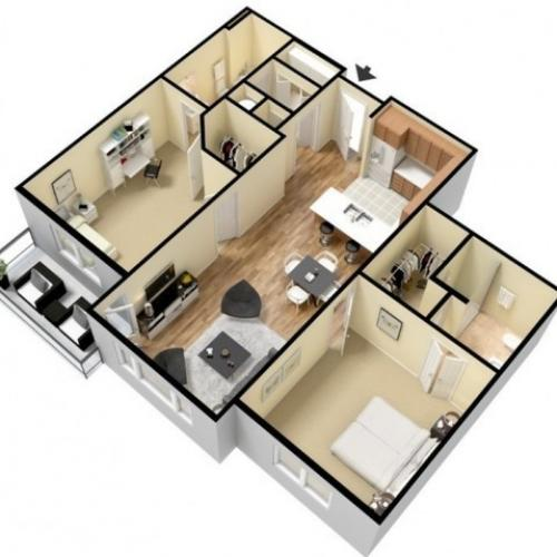 Floor Plan 16 | Luxury Apartments Kansas City KS | Prairie View at Village West