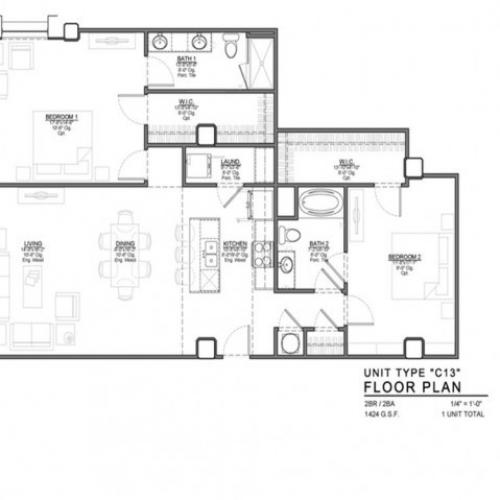 2 Bedroom Floor Plan | Apartments In Kansas City Mo | The PowerLight Building