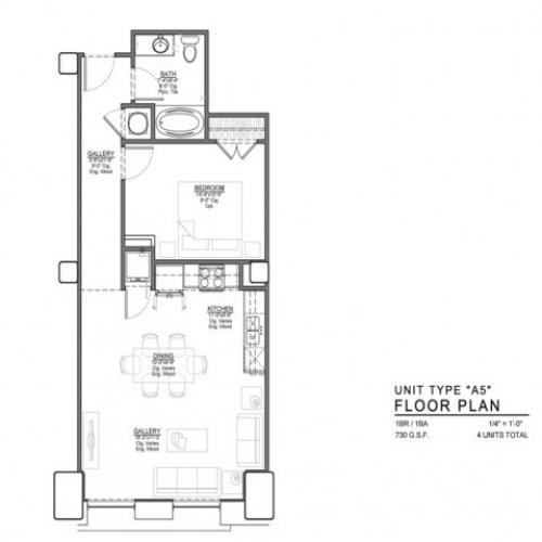 1 Bedroom Floor Plan | Luxury Apartments In Kansas City Missouri | The Power  Light Building