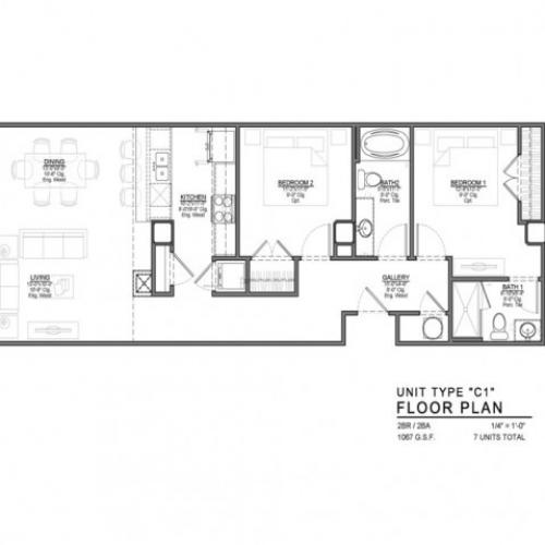 2 Bedroom Floor Plan | Apartments In Kansas City Mo | The Power  Light Building