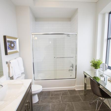 Spacious Master Bathroom | Downtown Kansas City Apartments | The Power  Light Building