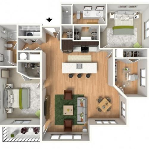 Floor Plan 3 | Lees Summit Apartments For Rent | Summit Square