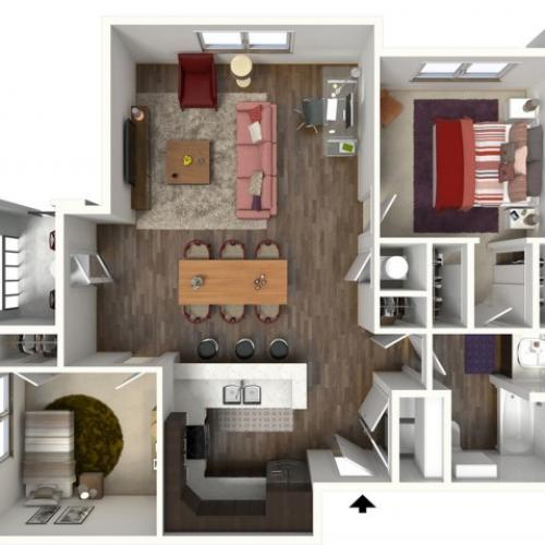 1 Bdrm Floor Plan | Apartments Kansas City | Kinsley Forest 1