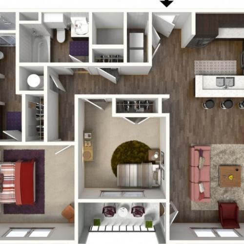 2 Bdrm Floor Plan | Kansas City Apartments | Kinsley Forest
