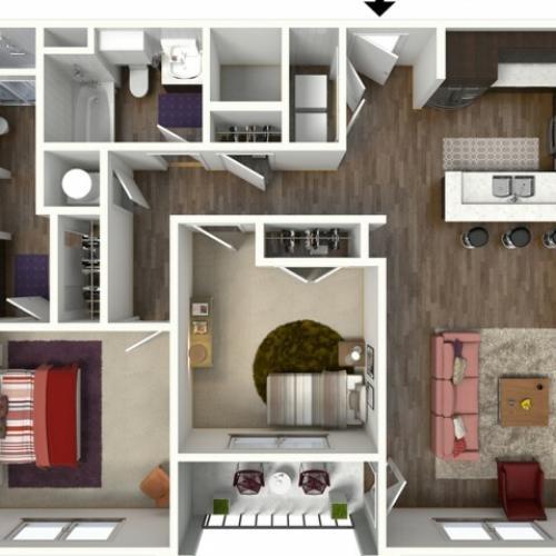 2 Bdrm Floor Plan | Kansas City Apartments | Kinsley Forest