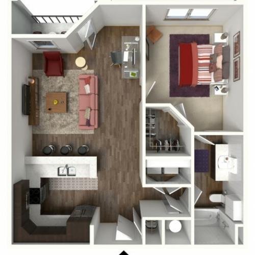 1 Bedroom Floor Plan | Kansas City Apartments | Kinsley Forest